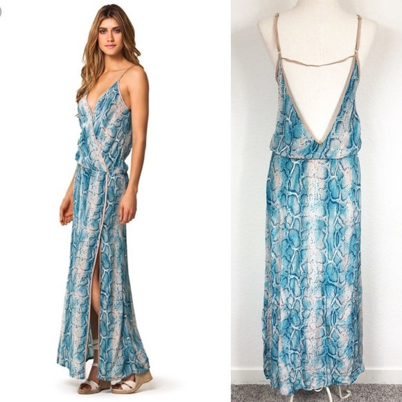 0ec063e6d1479 Vix Snake Skin Teal Maxi Dress Silk Cover Up S. M_5b6ce0269264af1bdb6bf57a